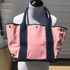 J. Crew pink tote with blue trim